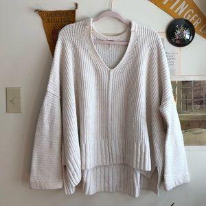Free People Cream Vneck Sweater